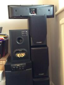 Mission speakers and Yamaha active subwoofer
