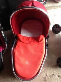 iCandy peach lower carry cot in cherry red