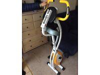 Ultrasport fold away exercise bike with grip sensors