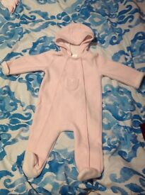 Lovely jasper j Conran pink hooded baby girl coat all in one 9-12 months