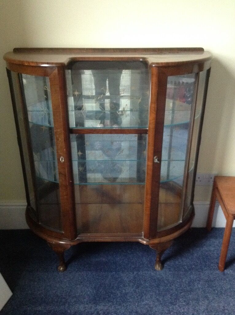Antique drinks cabinet 1920s bow fronted glass cabinet could be ...