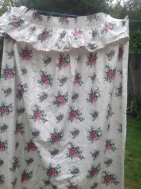 pink and plum floral curtains fully lined with pink and white stripe