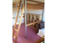 High sleeper double bed and mattress