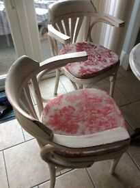 Shabby Chic chairs x 2 painted in Farrow & Ball paint with padded seats