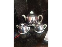 Antique Teapot Set duck egg blue with silver covers