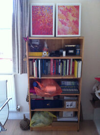 Pine wood effect bookcase