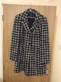 Beautiful stylish black and white checked coat - hardly been worn - size 14 - only £5