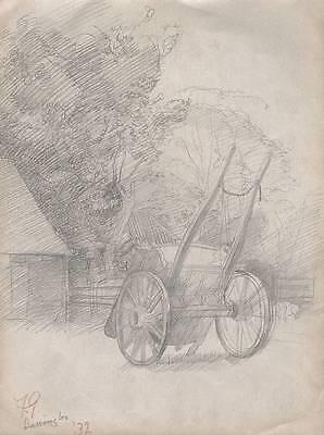 BARRINGTON FARM HORSE CART Drawing 1932 WALTER SICKERT Pupil FRANK GRIFFITH