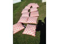 11 showerproof garden patio cushions £25 tel 07966921804