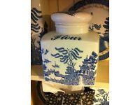 Willow pattern flour jar