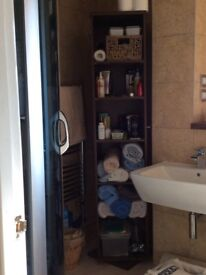 Tall Swivel Bathroom or craft room storage unit, masses of space with 5 shelves