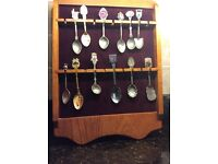 Spoon collection with display shelf