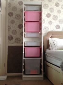Ikea trofast tall storage unit with boxes
