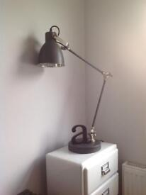 French Vintage Style Metal Desk Lamp large, grey, brushed chrome