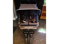 Twin buggy with rain cover , easy to push ,pump for tires