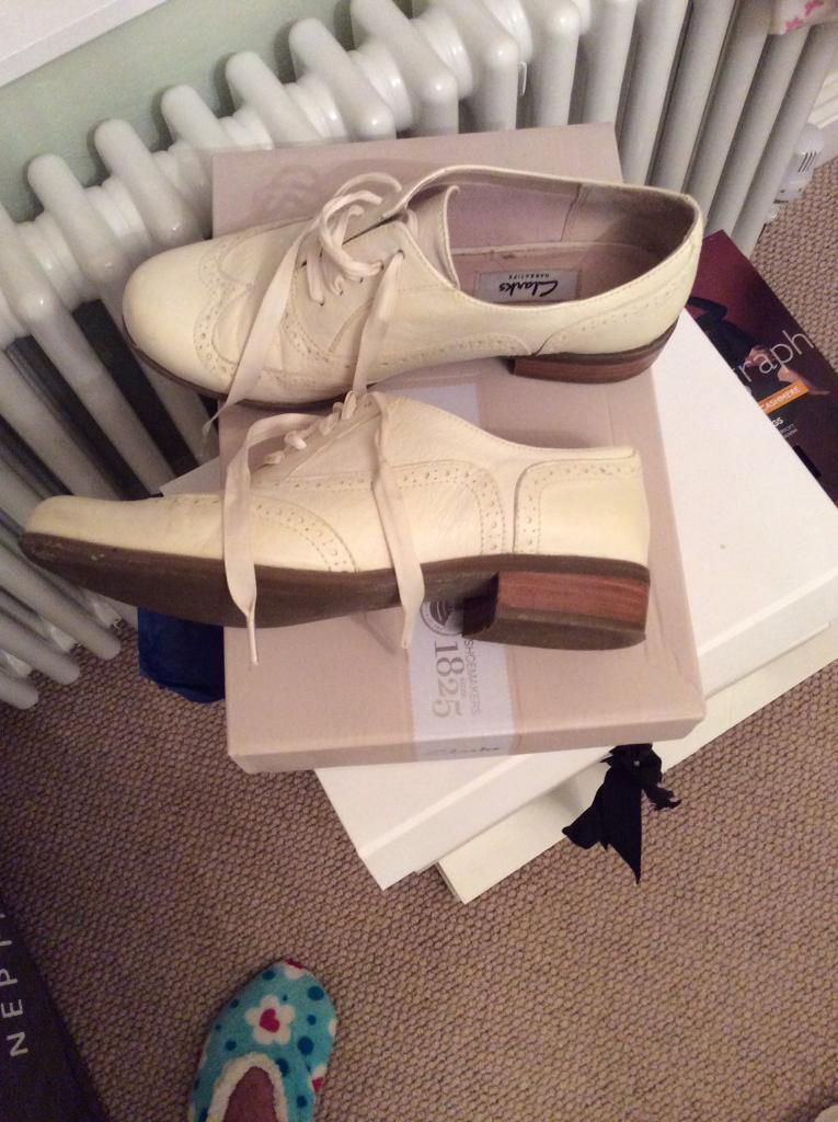 Women's Clarks, Off White Ladies Leather Brogue Shoes