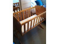 Toys R Us wood swinging crib and mattress