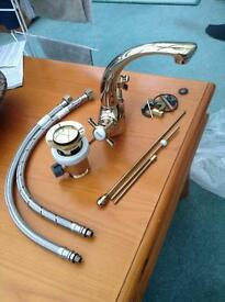 Cooke & Lewis golden tap and pop up waste