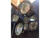 Stainless steel curry serving set - 2 serving bowls 4 balti bowls 4 rice dishes 4-dish pickle server