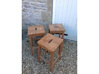 Set of 3 Solid Wooden Stools