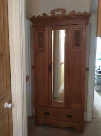 Victorian satinwood single wardrobe