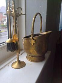 vintage brass helmet coal bucket and tools