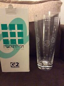 Macintosh inspired design glass vase