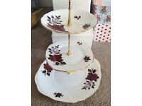 Red/White Floral Colclough Vintage Bone China 3 Tier Cake Stand.