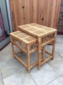 Set of Two Rattan Wicker Coffee Tables