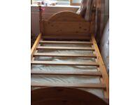 Handmade single pine bed