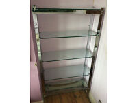 MERROW & ASSOC GLASS AND CHROME SHELVING UNIT