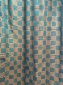 Long and Wide Green and Gold Curtains
