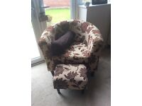 Fabric tub chair with footstool