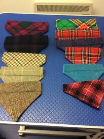 Lined tweed and tartan dog bandanas
