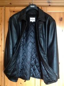Men's black leather jacket by The Keenan Leather Company, immaculate condition.