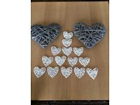 Various wedding items incl: Wicker Hearts, candles, tablecloths, jars etc