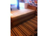 Single bed that folds into a double bed
