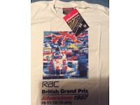 British Grand Prix vintage motor racing t shirts x 5 unworn, Men's L & XL.