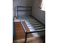 Metal Bed single Adult Size with Free Old Mattress if Required / Can Deliver