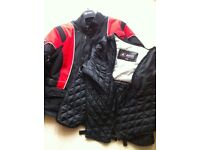Akito motorbike jacket, black and red design with separate thermal lining.