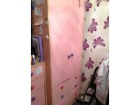 Wardrobe and Chest of Drawers Pale Pink fronts