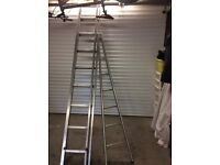 Double extention ladder and A frame ladder.