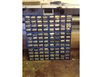 Plastic storage unit with contents