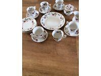 Vintage tea set cups saucers plate sugar bo