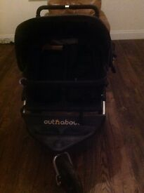Out n About Nipper 360 double buggy including rain cover and baby snug