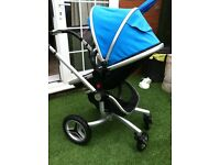 Silver Cross Surf 2 Complete Pram and Pushchair - Blue & Graphite