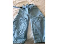 Light blue ladies salopettes- good condition size 8 with gaiters - Trespass