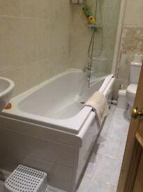 Bathroom suite bath, sink, toilet, radiator,shower, shower screen