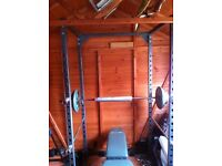 Weight Training Power Cage + Sturdy Incline bench with Preacher Curl pad