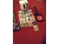 Xbox 360 - 250gb, 17 games, 2 guitars original box